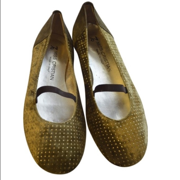 Cristian Shoes - Miss Cristian Studded Olive Green Flat